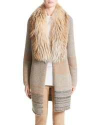 Cashmere cardigan with removable genuine fox fur collar medium 4951434