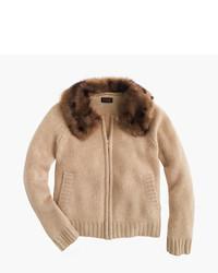 J.Crew Girls Cashmere Zip Cardigan Sweater With Furry Collar