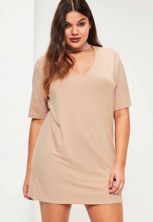 Missguided Plus Size Nude Choker Neck T Shirt Dress Where To Buy
