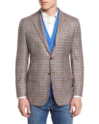 Cashmere blend check sport coat tan medium 641570