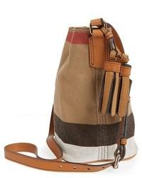 d92cc2a7aacd ... Burberry Brit Mini Ashby Canvas Check Crossbody Bucket Bag Brown ...