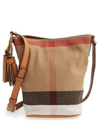 Burberry Brit Mini Ashby Canvas Check Crossbody Bucket Bag Brown
