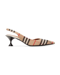 Burberry Checked Cotton Canvas Slingback Pumps