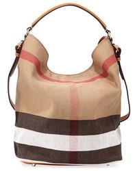 Burberry Susanna Medium Check Canvas Tote Bag Saddle Brown