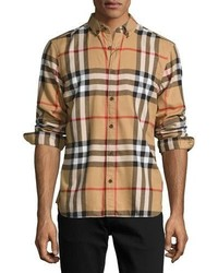 Burberry Check Cotton Flannel Shirt Camel