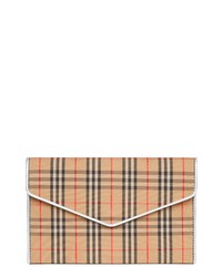 Burberry 1983 Check Cotton Leather Envelope Clutch