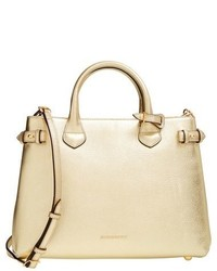 Burberry Medium Banner House Check Metallic Leather Tote