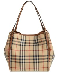 Burberry Small Canter Check Leather Tote