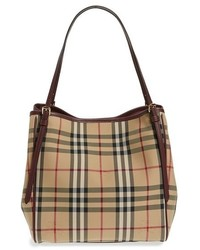 Burberry Small Canter Horseferry Check Leather Tote Beige