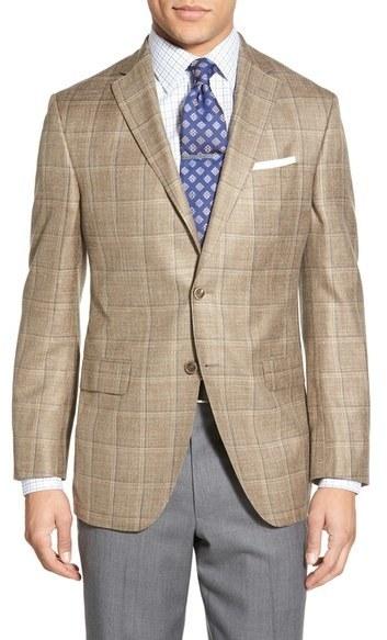 46823a3857a9 ... David Donahue Classic Fit Windowpane Wool Silk Linen Blend Sport Coat  ...