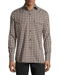 Tom Ford Check Cotton Military Shirt Brown