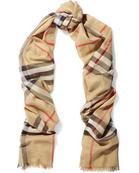 Burberry Checked Wool And Scarf