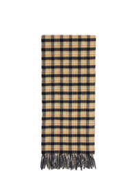 Gucci Navy And Yellow Wool Check Gg Scarf
