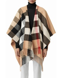 Burberry Check Wool Cashmere Fringe Cape