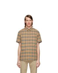 Burberry Beige Check Short Sleeve Shirt