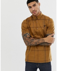 Fred Perry Grid Check Jersey Back Short Sleeve Shirt In Camel
