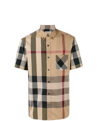 Burberry Short Sleeve Check Stretch Cotton Blend Shirt