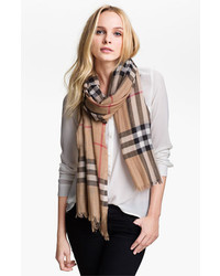 Burberry Giant Check Print Wool Silk Scarf