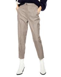 Tan Check Tapered Pants