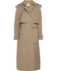 Stella McCartney Checked Wool Trench Coat Tan
