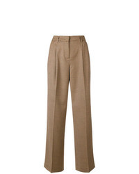 Tan Check Wide Leg Pants