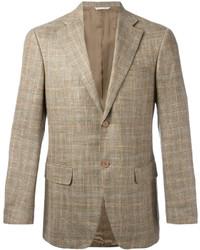 Tan Check Wool Blazer
