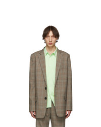 Tibi Ssense Brown Check James Long Blazer