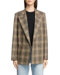 Acne Studios Check Double Breasted Wool Cotton Jacket
