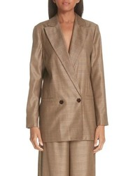 Ganni Double Breasted Check Silk Wool Blazer