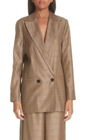 Ganni Double Breasted Check Silk Wool Blazer