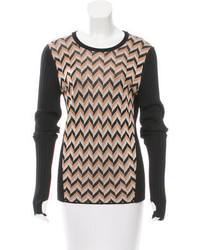 Patterned accented rib knit sweater medium 3637803