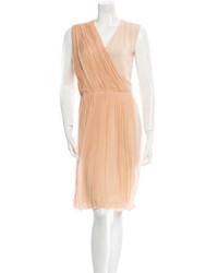 Tan Chiffon Party Dress