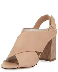 Faine chunky heel leather sandal nude medium 647915
