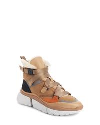 Chloé Sonnie Genuine Shearling High Top Sneaker