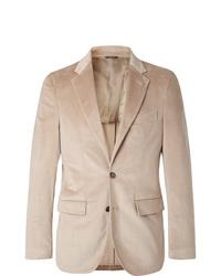 Loro Piana Beige Andorra Slim Fit Stretch Cotton And Cashmere Blend Corduroy Blazer