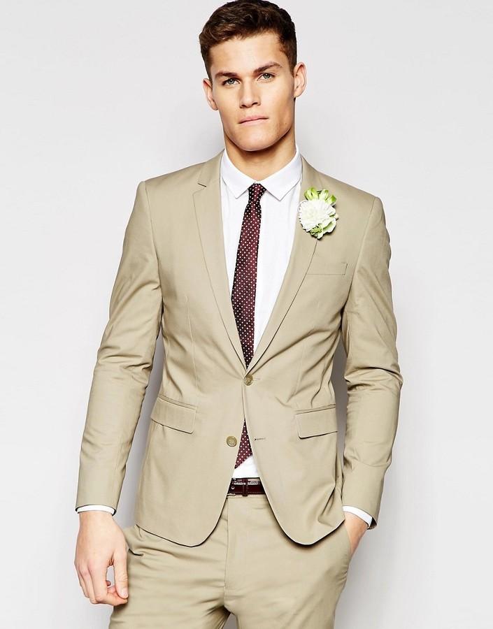 Asos Brand Wedding Skinny Suit Jacket In Poplin In Stone   Where to ...