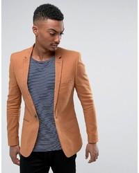 Asos Super Skinny Blazer In Tan Linen Blend