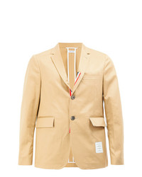 Thom Browne Unconstructed Classic Single Breasted Sport Coat With Placket In Light Weight High Density Cotton Twill