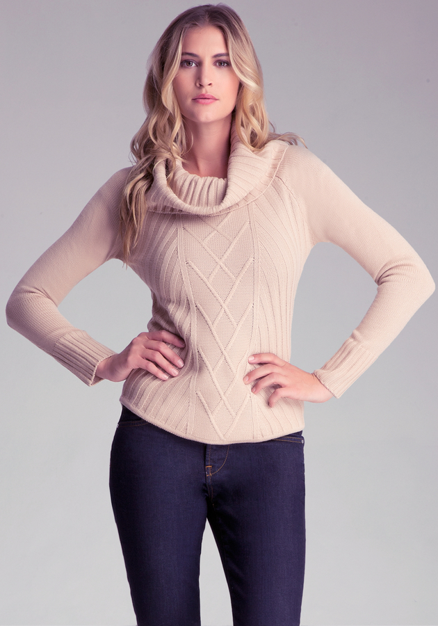 Bebe Ribbed Cowl Neck Sweater | Where to buy & how to wear