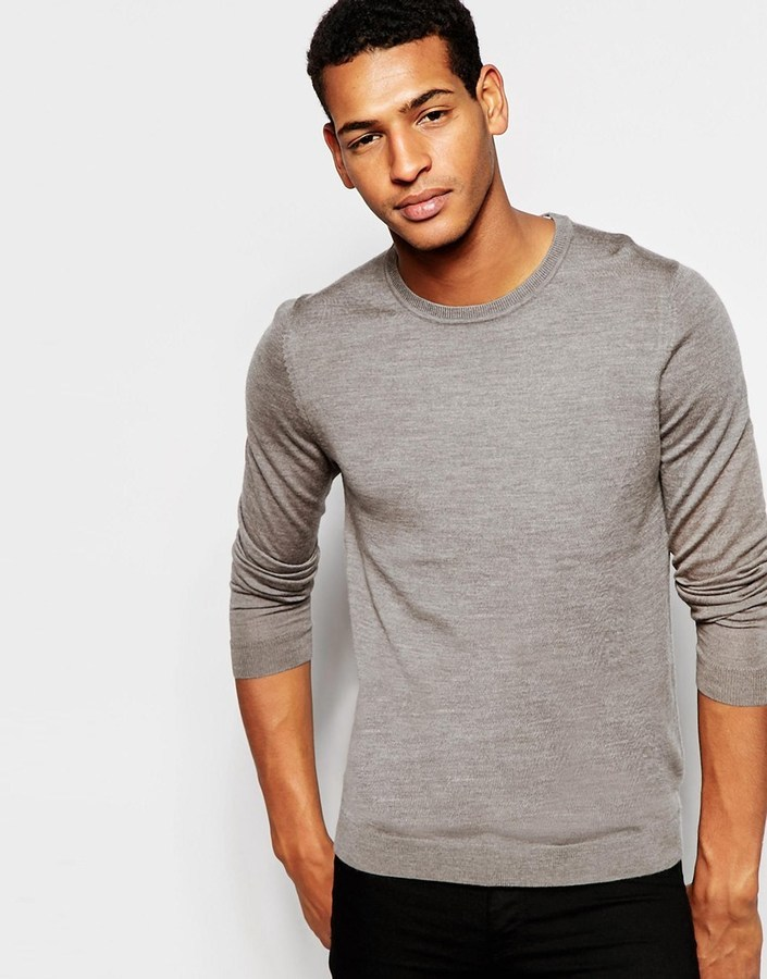 Jumper In Merino Wool Crew Neck