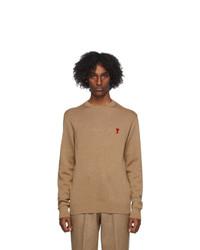 AMI Alexandre Mattiussi Beige Wool Ami De Coeur Sweater