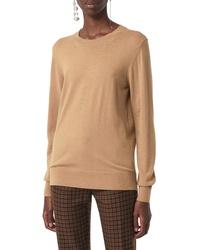 Burberry Bempton Tartan Elbow Patch Merino Wool Sweater