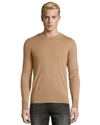 Burberry Camel Rib Knit Cashmere Blend Jarvis Shoulder Patch Sweater