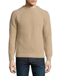 Long Sleeve Crewneck Cashmere Sweater Sand