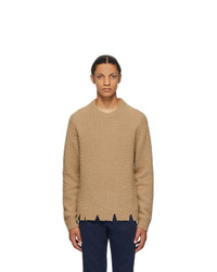 Maison Margiela Tan Wool Oversized Destroyed Sweater