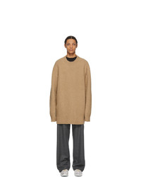 Maison Margiela Tan Wool Oversized Pilled Sweater