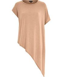 River Island Camel Asymmetric Short Sleeve T Shirt