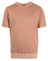 Giorgio Armani Logo Embroidered Cotton T Shirt