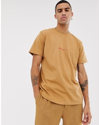 Mennace Oversized T Shirt In Tobacco With Script Logo