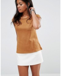 Glamorous Suede T Shirt With Pocket Detail